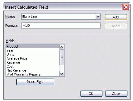 Creating the Blank Line formula