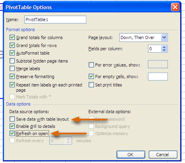 PivotTable settings