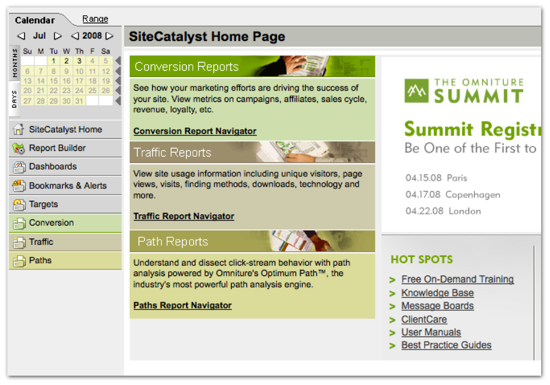 Omniture start page